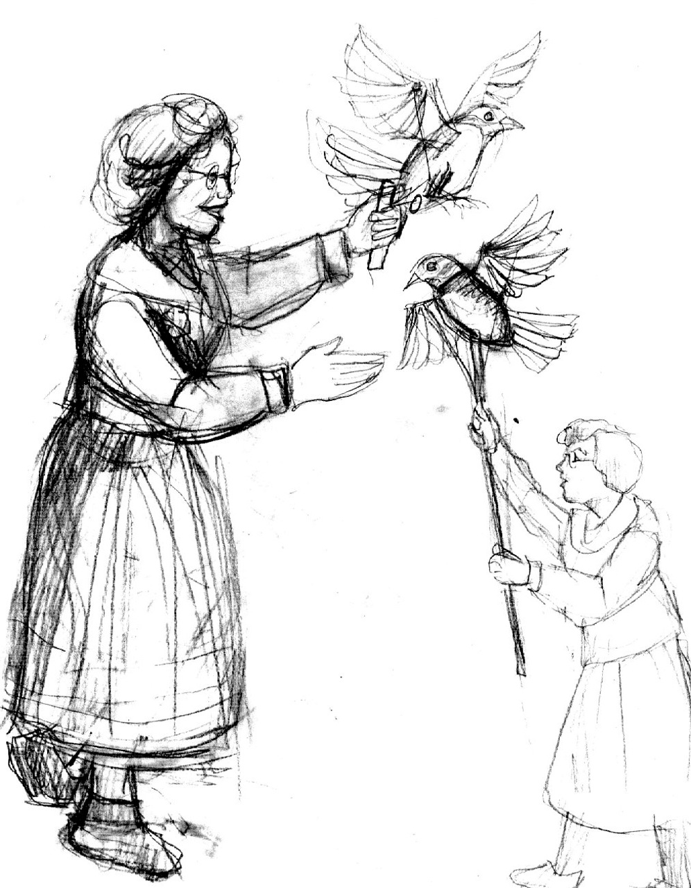 Sparrow puppet sketch by David Fichter.