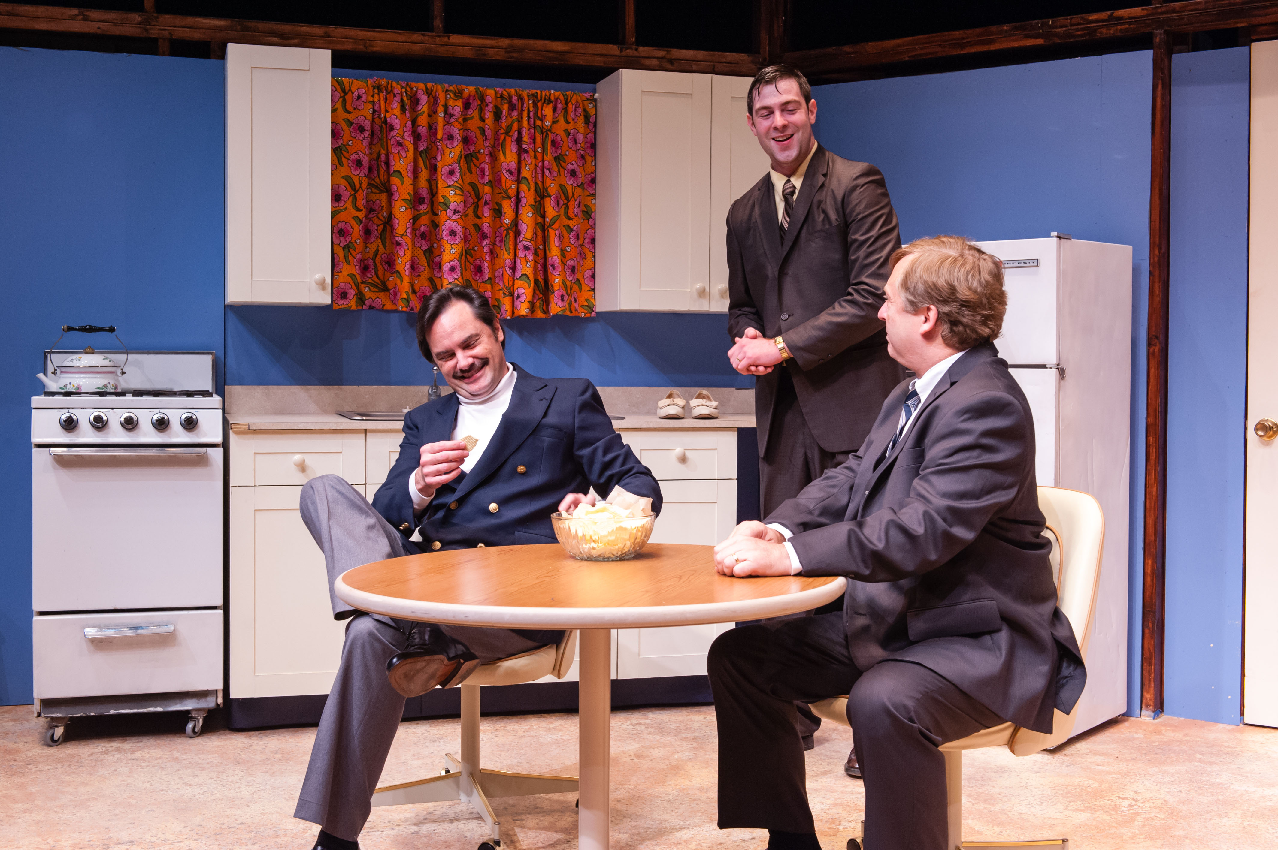 Bill Mootos, David Berger-Jones, and Steven Barkhimer in Alan Ayckbourn's ABSURD PERSON SINGULAR. Produced by The Nora Theatre Company. Photo: A.R. Sinclair Photography.