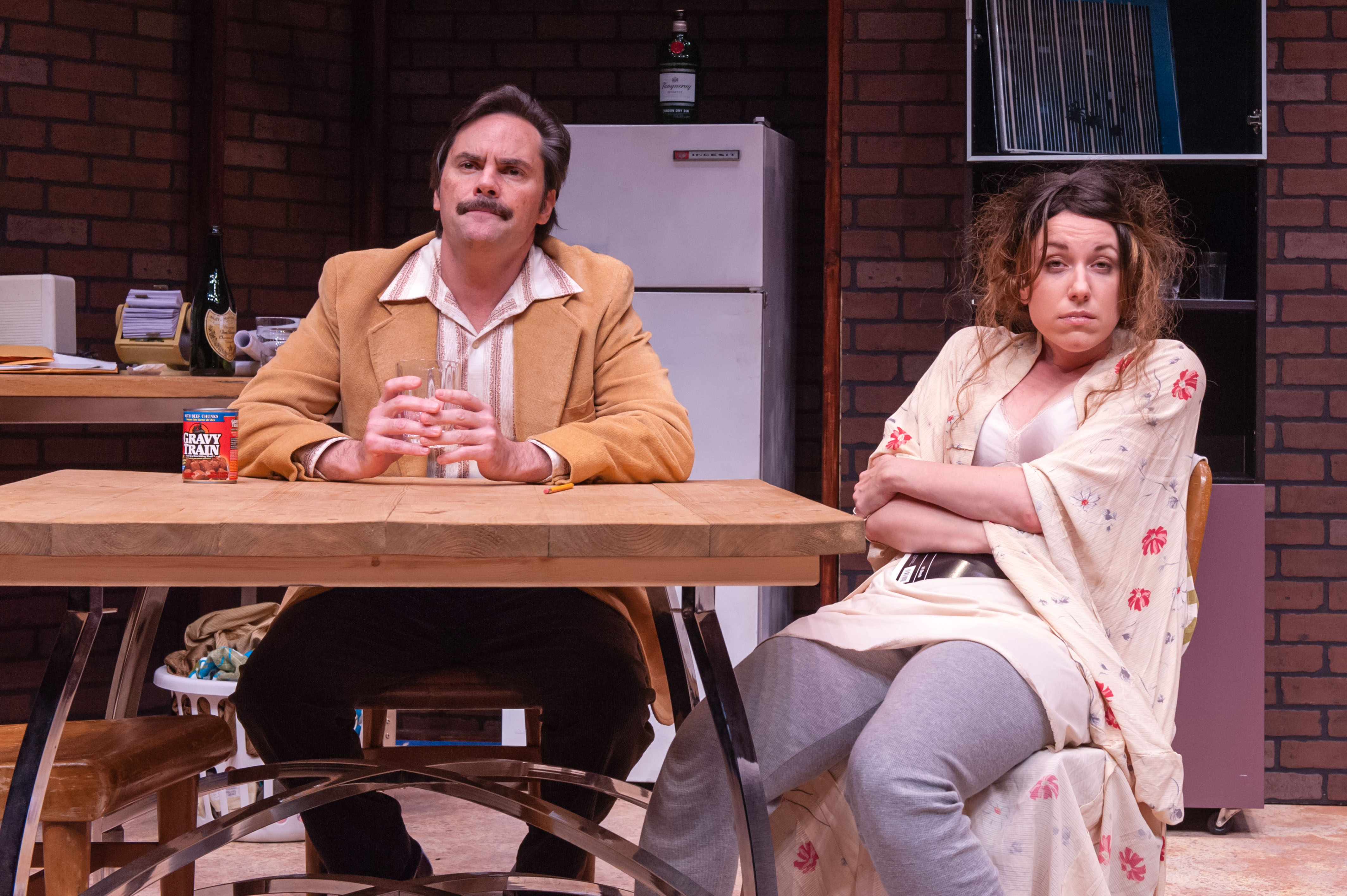 Bill Mootos and Liz Hayes in Alan Ayckbourn's ABSURD PERSON SINGULAR. Produced by The Nora Theatre Company. Photo: A.R. Sinclair Photography.