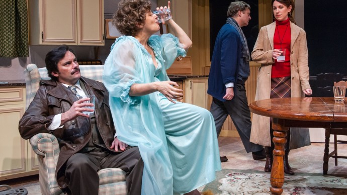 Bill Mootos, Stephanie Clayman, Steven Barkhimer and Liz Hayes in Alan Ayckbourn's ABSURD PERSON SINGULAR. Produced by The Nora Theatre Company. Photo: A.R. Sinclair Photography.