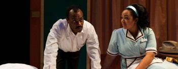 Maurice Emmanuel Parent and Kami Rushell Smith in THE MOUNTAINTOP. Photo: A.R. Sinclair Photography.