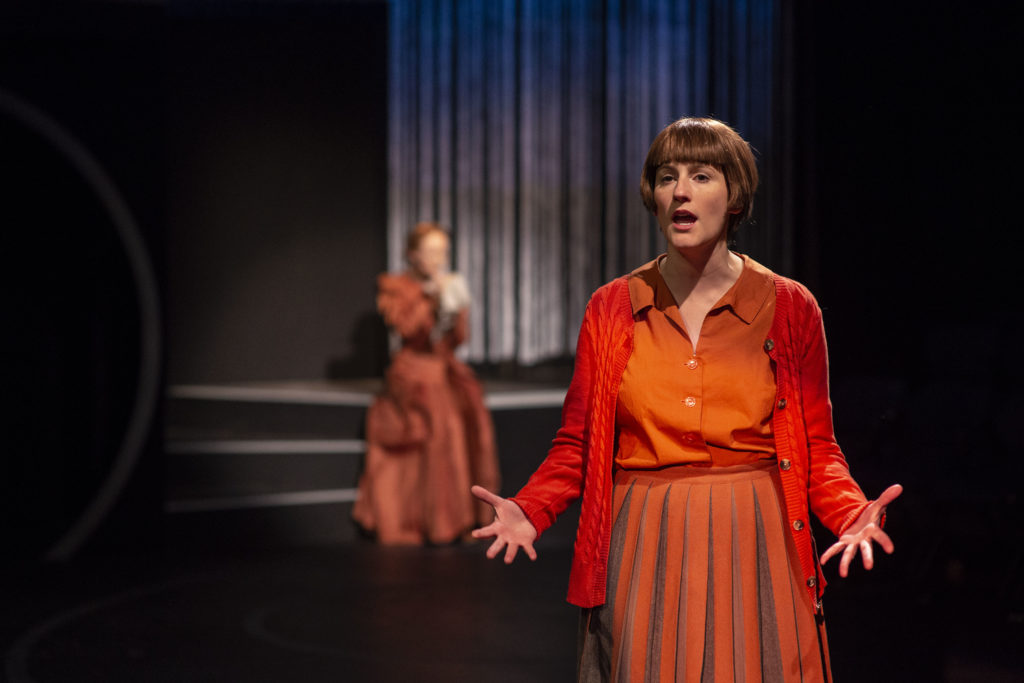 Amanda Collins (Cecilia Payne) in the foreground Sarah Oakes Muirhead (Henrietta Swan Leavitt) in THE WOMEN WHO MAPPED THE STARS. Photo: A.R. Sinclair Photography.