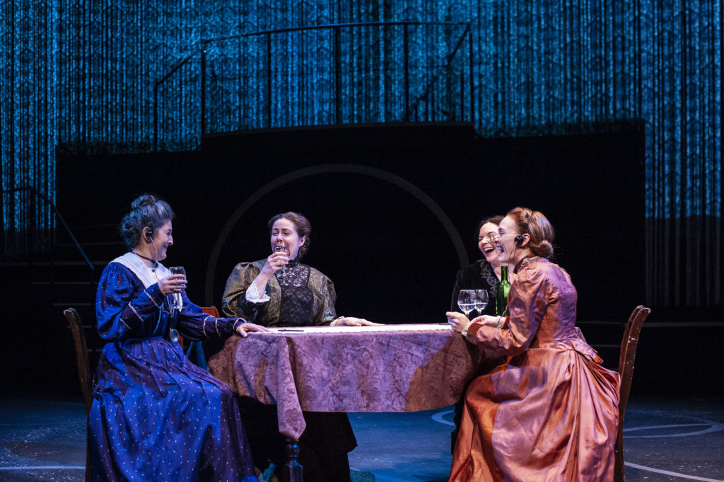Sarah Newhouse (Annie Jump Cannon), Christine Power (Antonia Maury), Becca A. Lewis (Williamina Fleming) & Sarah Oakes Muirhead (Henrietta Swan Leavitt) in THE WOMEN WHO MAPPED THE STARS. Photo: A.R. Sinclair Photography.