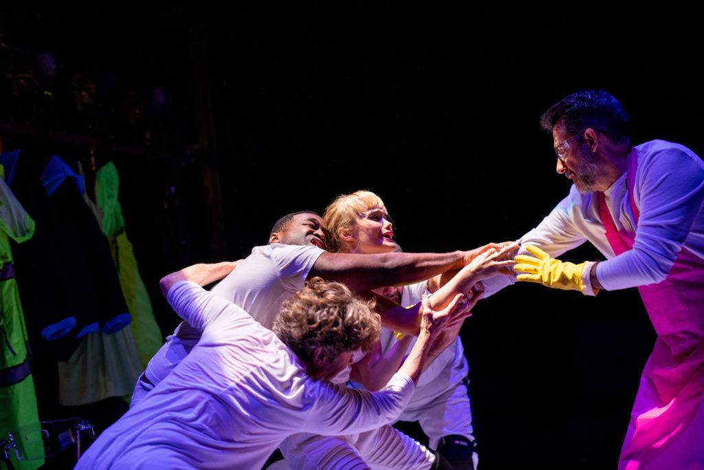 Debra Wise, Omar Robinson, Ashley Risteen, and John Kuntz in FRANKENSTEIN. Photo: Nile Scott Studios.