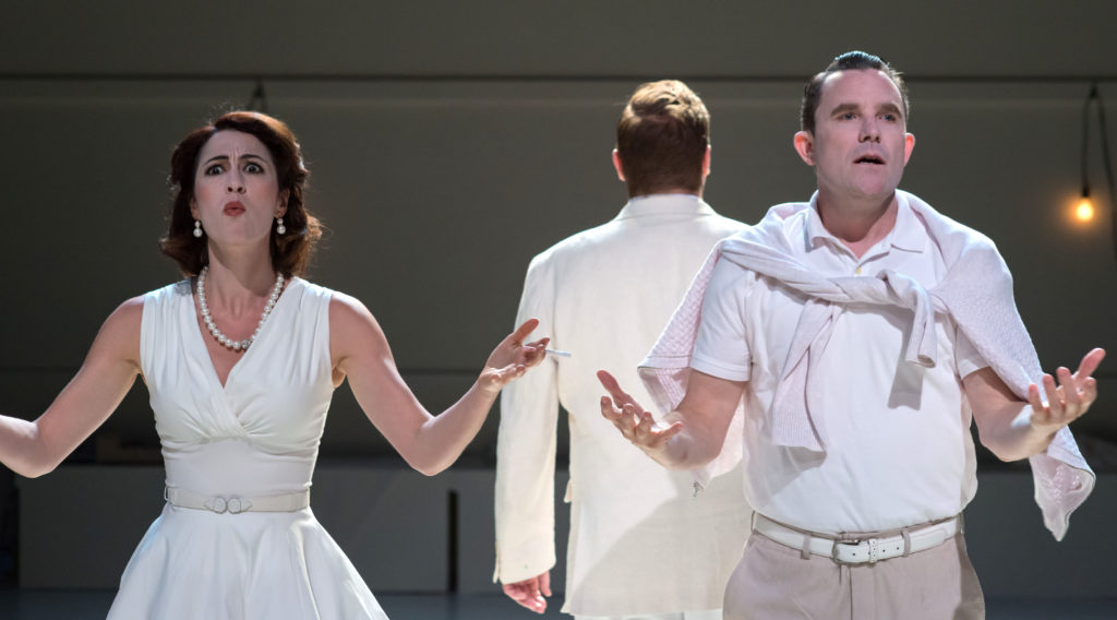 Kelley Curran, Edmund Lewis (back), & Eric Tucker in Bedlam's What You Will. Photo: A.R. Sinclair Photography.
