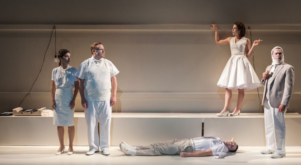 Susannah Millonzi, Edmund Lewis, Eric Tucker (on floor), Kelley Curran, & Tom O'Keefe in Bedlam's What You Will. Photo: A.R. Sinclair Photography.
