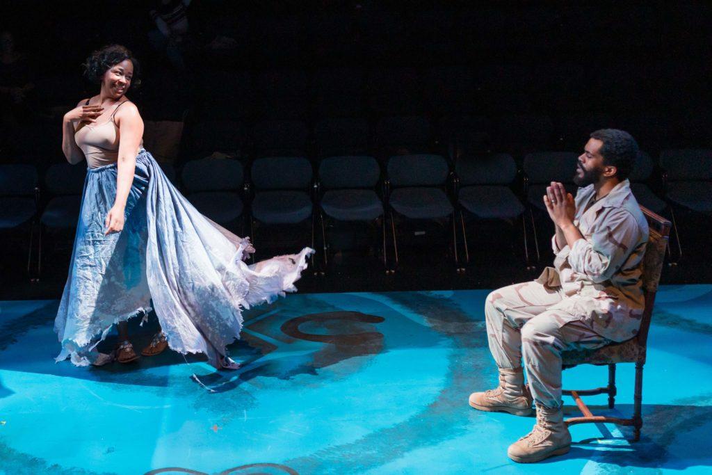 Ramona Lisa Alexander (Circe) and Brandon G. Green (Ulysses Lincoln). Photo: Maggie Hall.