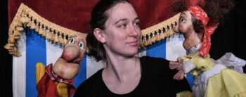 Sarah Nolen with puppets